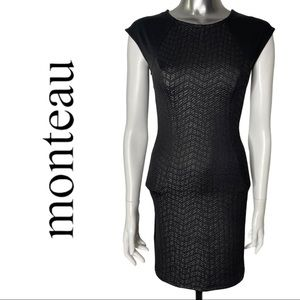 Monteau Black Dress Open Back Fitted Dress Small
